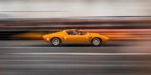 Speeding Lamborghini Miura
