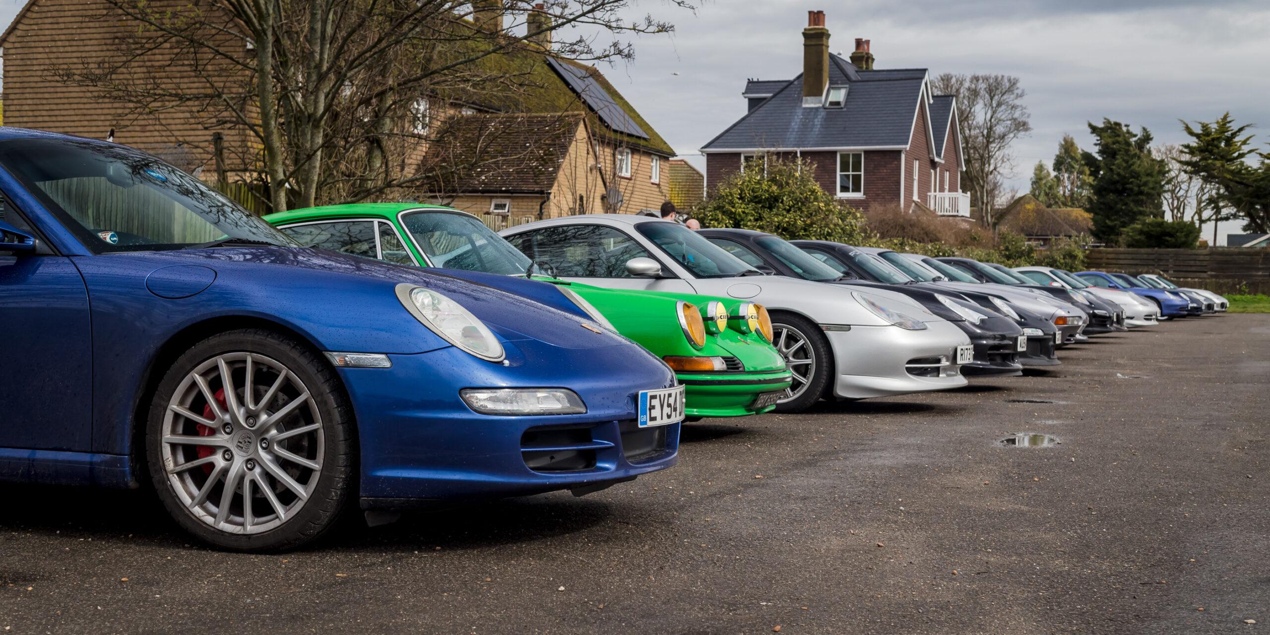 Row of Porsche 911's