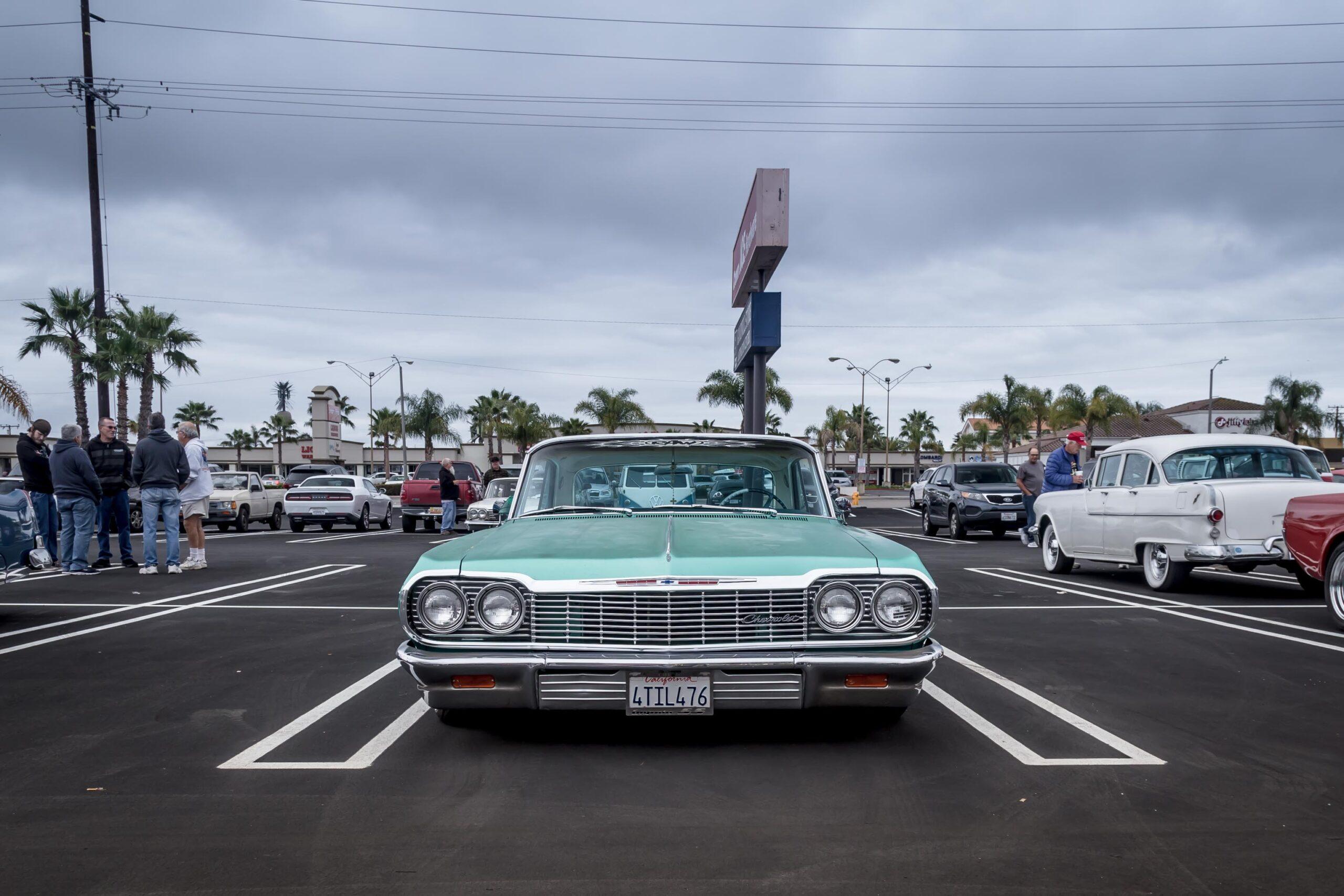 1964 Chevy Impala lowrider at Donut Derelicts breakfast meet