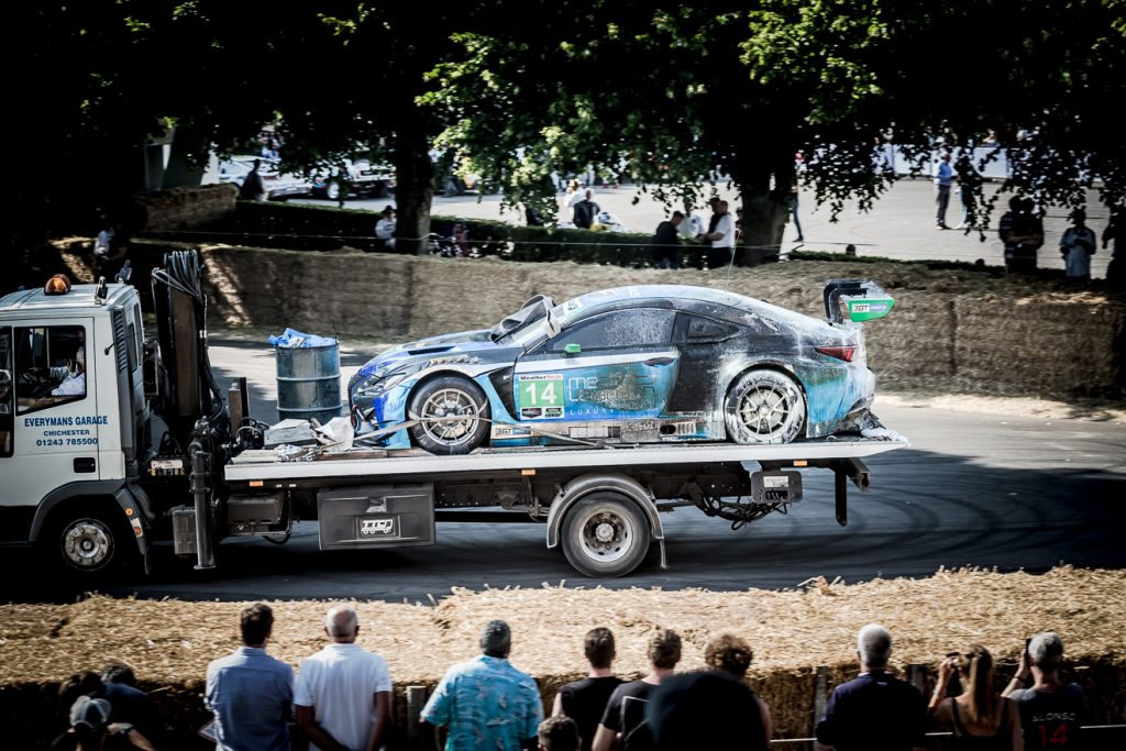 Lexus RC-F GT3 going home on a recovery truck.