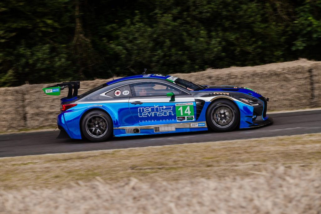 Lexus RC-F GT3 hurtling up the Goodwood hill
