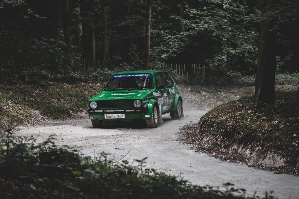 Green VW Rhelia Golf GTI rally car
