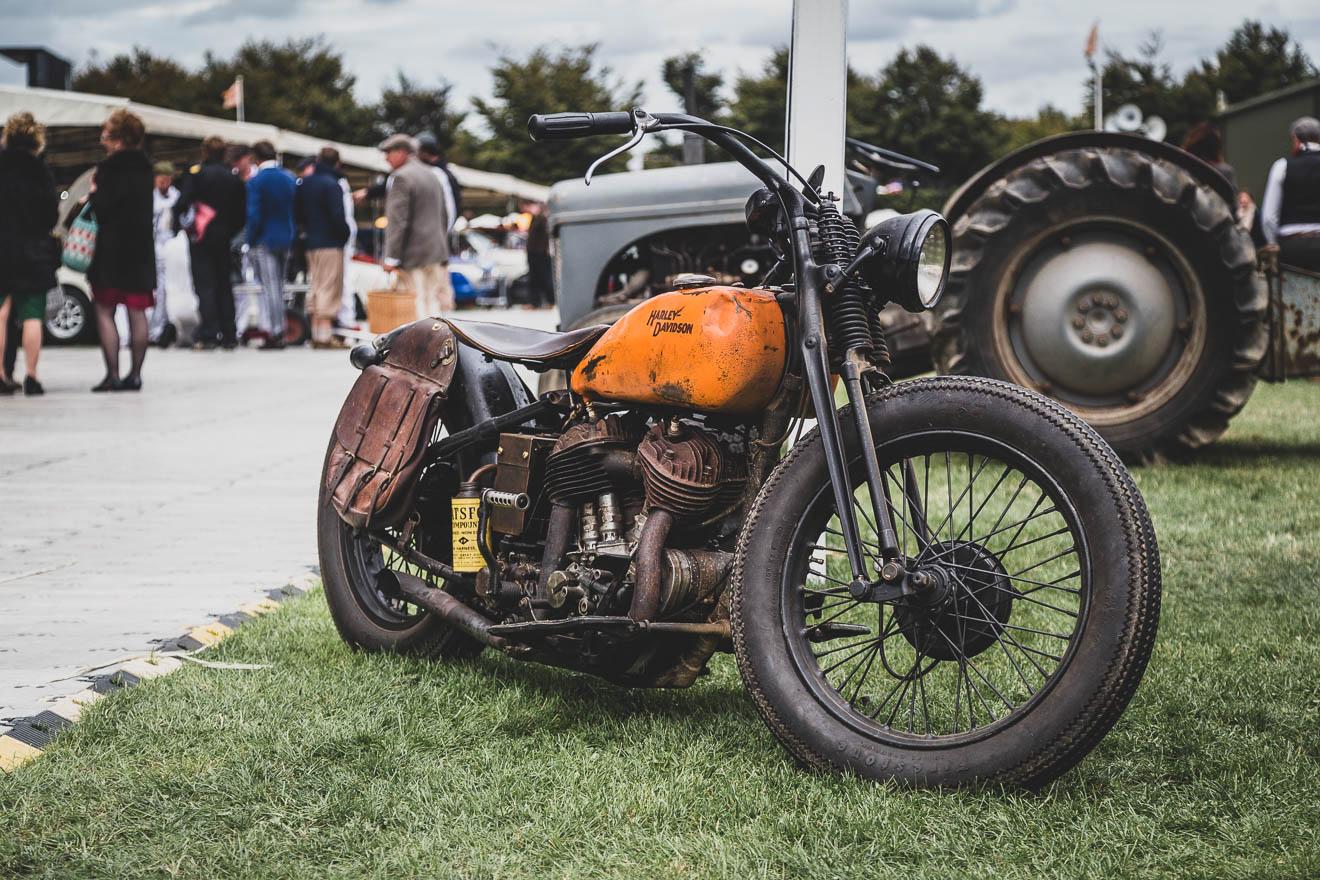 Orange Harley Davidson motorcycle