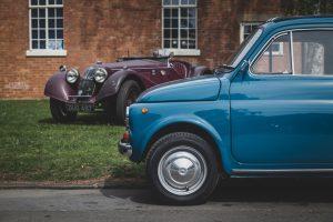 Blue Fiat 500 classic car