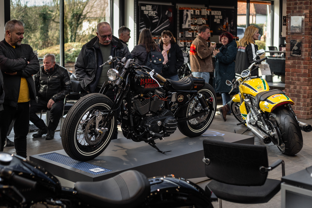 In the spotlight, custom motorcycle