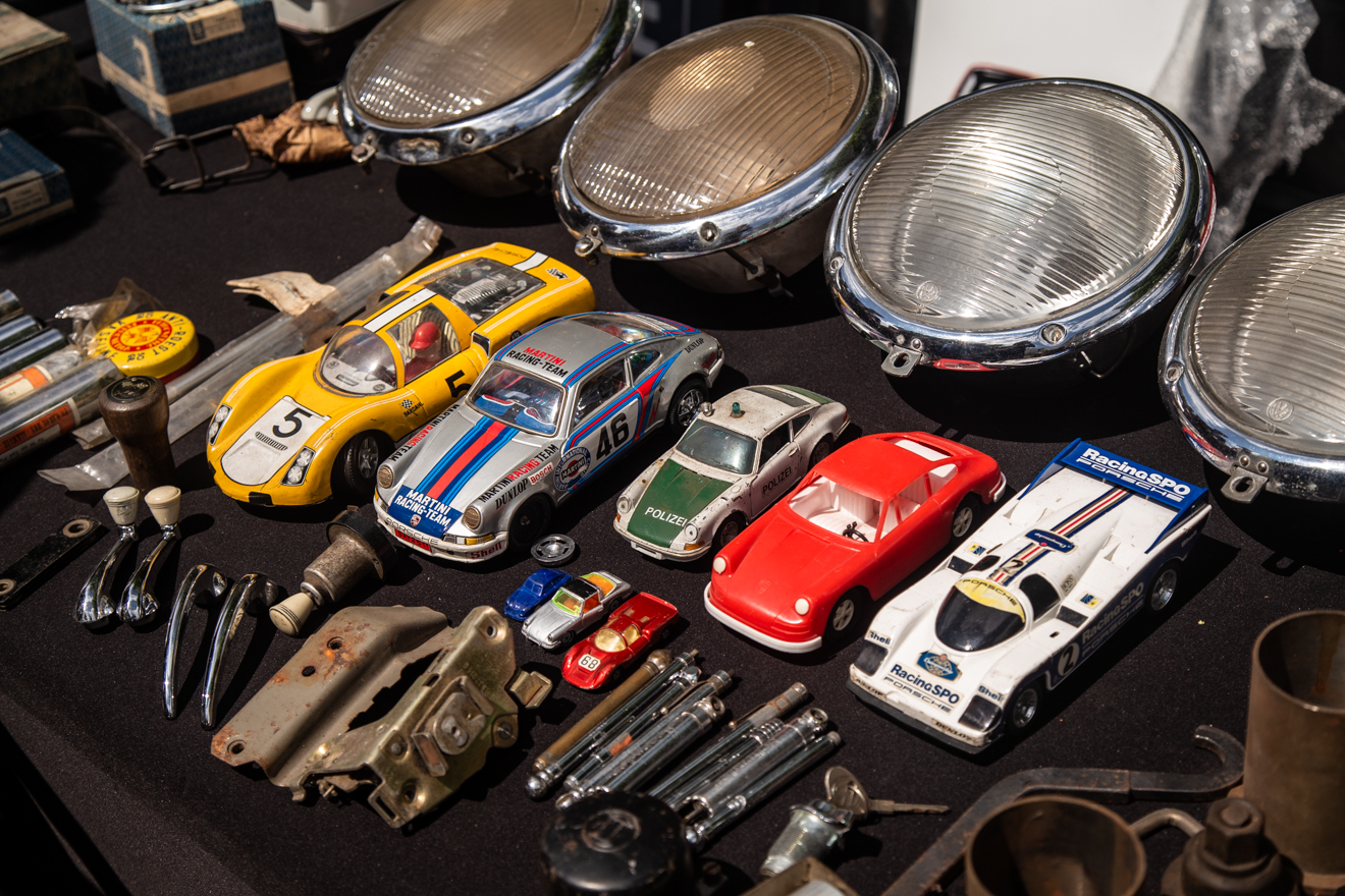 Toy cars on swap meet table