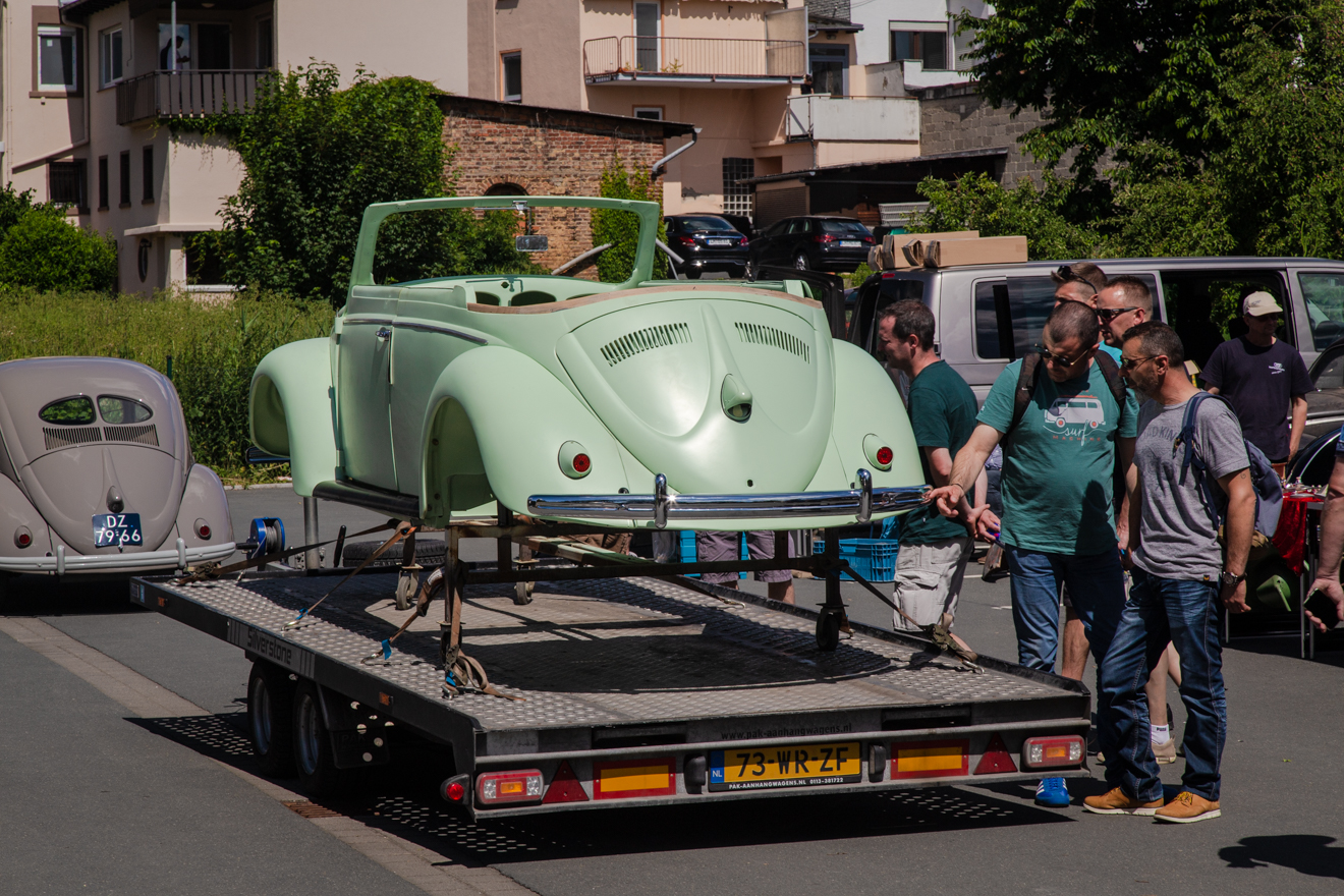 Convertible Beetle body shell on trailer
