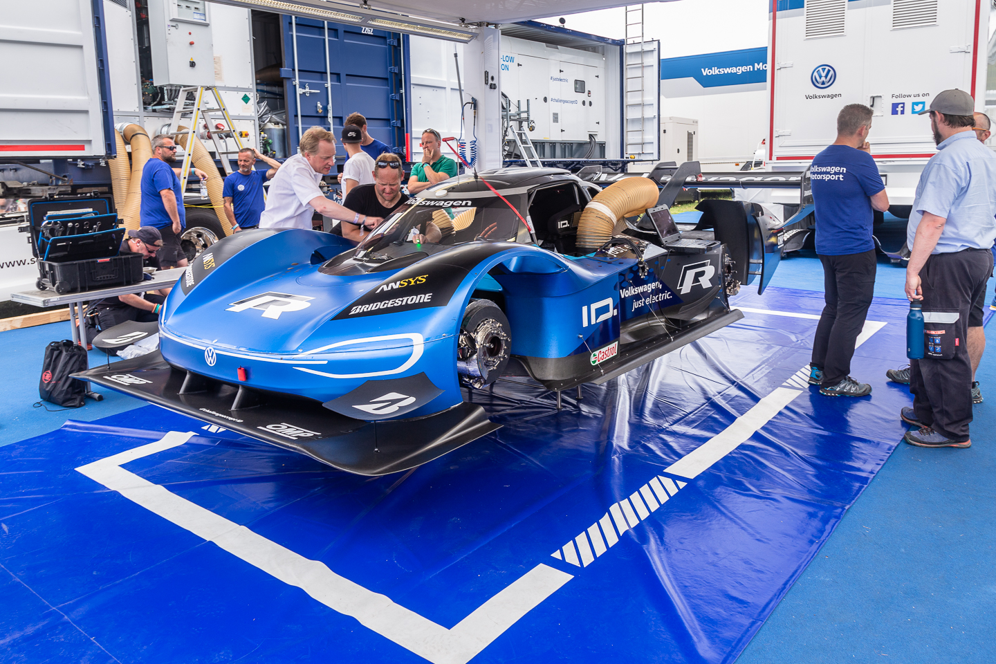 Blue Volkswagen all electric IDR Pikes Peak race car