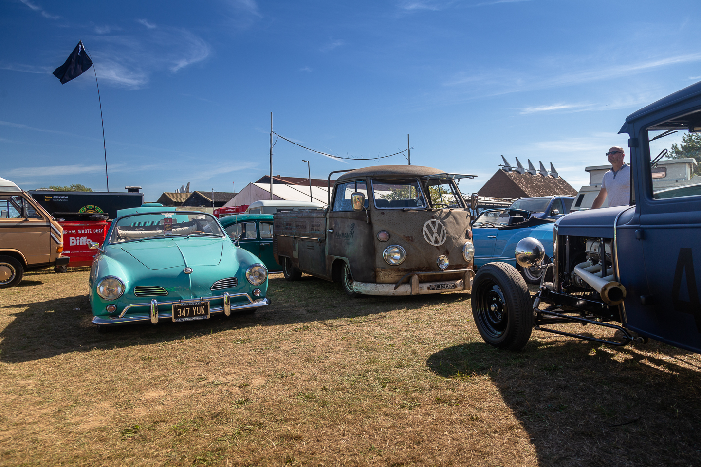 Cars on display at the Hop Farm