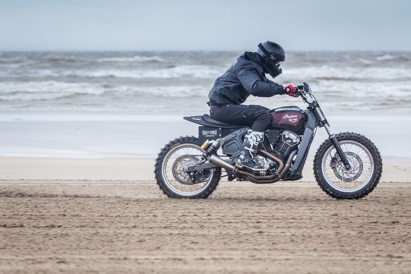 Indian motorcycle on Margate beach