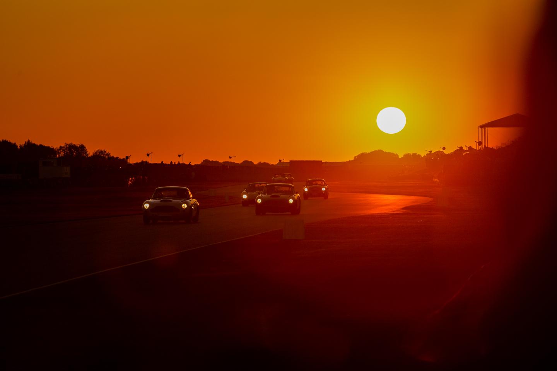 Sun setting over Goodwood Revival