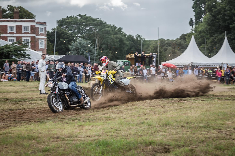 Racing motorcycles off road