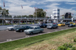 Cars lined up on the Goodwood starting grid